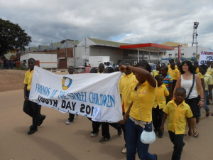 Friends of the street children taking part in youth day celebrations